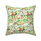 Floral Guinea Pig Pet Cavy Throw Pillow Cover w Optional Insert by Roostery