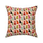 Cat Kitten Mitten Yarn Holiday Throw Pillow Cover w Optional Insert by Roostery