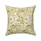 Gold And White Painted Throw Pillow Cover w Optional Insert by Roostery