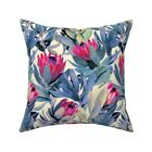 Floral Jungle Protea Proteas Throw Pillow Cover w Optional Insert by Roostery