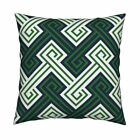 Greek Key Lines Maze Geometric Throw Pillow Cover w Optional Insert by Roostery