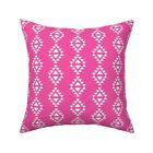 Magenta Triangles Pink Kids Throw Pillow Cover w Optional Insert by Roostery