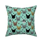 French Bulldog Mint Dog Throw Pillow Cover w Optional Insert by Roostery