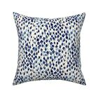 Abstract Blue Indigo Pattern Throw Pillow Cover w Optional Insert by Roostery