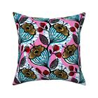 Floral Bright Pink And Blue Throw Pillow Cover w Optional Insert by Roostery