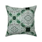 Island Inspired Green Fiji Tapa Throw Pillow Cover w Optional Insert by Roostery