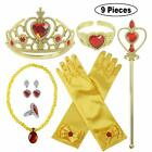 Girls Child Kids Princess Queen Wand & Tiara Crown Dressing Up UK 9 Pieces Set