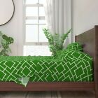 Bamboo Vintage Trellis Chinoiserie 100% Cotton Sateen Sheet Set by Roostery image