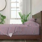 American Chevron Red White And Blue 100% Cotton Sateen Sheet Set by Roostery image