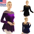 US Women Girls Velvet Skating Dress Ballet Dance Gymnastic Leotard Dress Costume