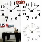 US DIY Modern Large Wall Clock 3D Mirror Surface Sticker Big Number Watch Decor