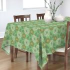 Tablecloth Retro Floral Vintage Flowers Green Modern Home Decor Cotton Sateen