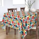 Tablecloth House Retro Mod Architecture Geometric Red Blue Yellow Cotton Sateen