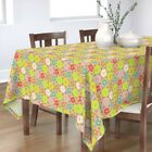 Tablecloth Modern Cherry Blossom Mid Century Dots Dotted Retro Cotton Sateen