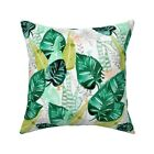Tropical Leaves Palms Throw Pillow Cover w Optional Insert by Roostery