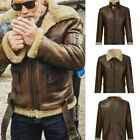 Mens Faux Leather Jacket Biker Motorcycle Fleece Lined Aviator Windbreaker Warm