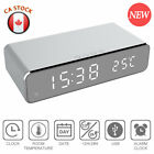 Electric LED Alarm Clock Phone Wireless Charger Desktop Digital Thermometer CA
