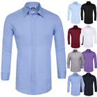 Men Stylish Tops Shirts Slim Fit Formal Casual Dress Shirts Long Sleeve Button