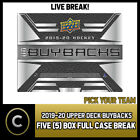 2019-20 UPPER DECK BUYBACKS HOCKEY 5 BOX FULL CASE BREAK #H640 - PICK YOUR TEAM $106.0 CAD on eBay