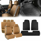 Tan Integrated Seatbelt Seat Covers for Truck SUV With Black Floor Mat $68.54 USD on eBay