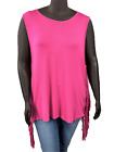 New! HAYDEN Plus Size pink rayon sleeveless tank with side fringe