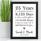 PERSONALISED Silver 25th Wedding Anniversary Gifts for Him Her Husband Wife 25
