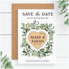 PERSONALISED Wedding Greenery Save The Date Wooden Heart Magnets Eucalyptus