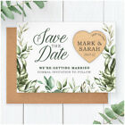PERSONALISED Spring Summer Eucalyptus Wedding Save The Date Wooden Heart Magnets