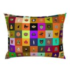 Pumpkin Witch Black Cat Holiday Jack O Lantern Halloween Pillow Sham by Roostery image