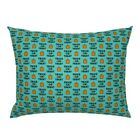 Trick Or Treat Pumpkin Halloween Little Arrow Teal Pillow Sham by Roostery image