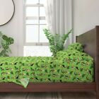 Yoga Kawaii Food Green Funny Novelty 100% Cotton Sateen Sheet Set by Roostery