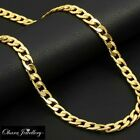 18K Yellow Real Solid Gold Filled New Curb Mens Chain Necklace Jewellery 7mm