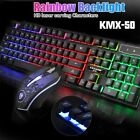 Pro Gaming Keyboard and Mouse Set Rainbow LED Wired USB for PC PS4 Xbox One 360