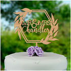PERSONALISED Mr and Mrs Wooden Wreath Wedding Cake Topper Decoration Geometric
