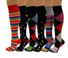 6 Pairs Pack 15-20 mmHg Sports Travelers Anti-Fatigue Compression Socks 9-11