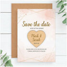 PERSONALISED Geometric Wedding Save The Date Cards Fridge Magnets Blush Pink