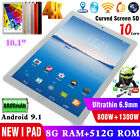 """10.1"""" Android HD Tablet PC 8+256GB 512GB 4G Octa-Core Dual SIM Card Phablet Lot"""