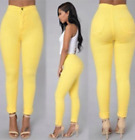 US Women High Waist Denim Jeans Stretchy Ripped Skinny Pencil Trousers Pants