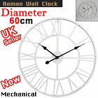 Large Wall Clock Outdoor Garden Metal Roman Numeral 40/60CM Round Face White