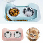 Stainless Steel Double Pet Bowl Dog Cat Twin Food Water Dish Feeding Station