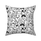 Black And White Cats Throw Pillow Cover w Optional Insert by Roostery