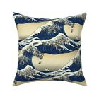 Japan Dog Ocean Illustration Throw Pillow Cover w Optional Insert by Roostery