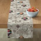 Table Runner Hot Air Balloons Vintage Steampunk Beige Antique Map Cotton Sateen