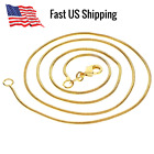 """Golden Chain Necklace 18k Gold Plated Snake 1.2mm 16""""—26"""" Diy Jewelry W/ Clasp"""