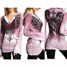 Внешний вид - Affliction Womens Hoodie Sweat Shirt Top ALLISON Pink Wings Biker MMA A31