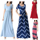 Women Cold Shoulder Pocket Pleated Casual Beach Vacation Party Maxi A-Line Dress