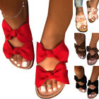 Womens Bowknot Slip On Flat Sandals Slippers Summer Flip Flop Beach Shoes Size