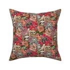 Sloth Floral Pink Flowers Throw Pillow Cover w Optional Insert by Roostery