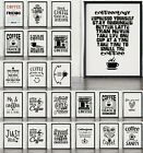 Coffee Home Decor Prints And Posters -  Fun Caffeine Addicts Wall Art Typography