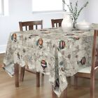 Tablecloth Hot Air Balloons Vintage Steampunk Beige Antique Map Cotton Sateen